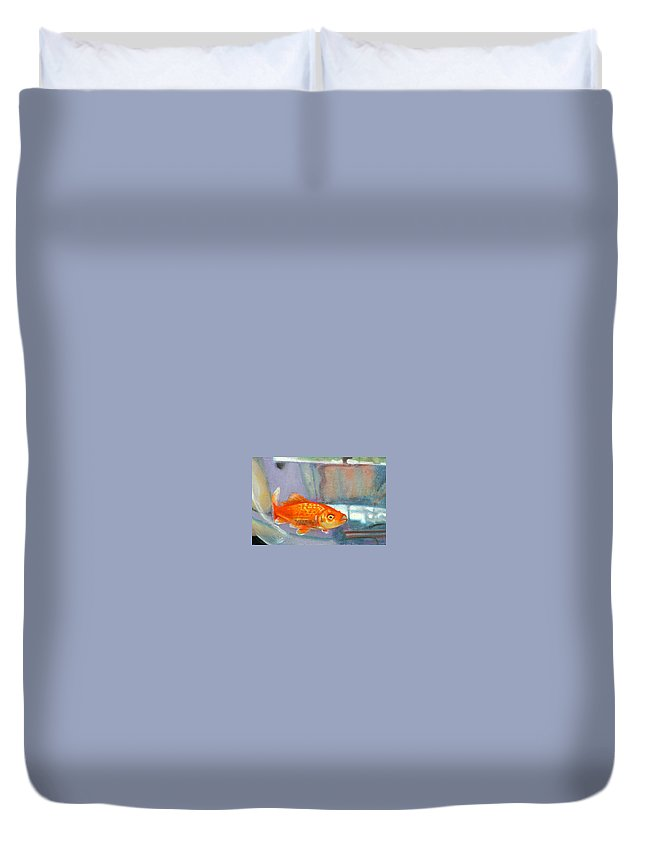 Goldfish Duvet Cover featuring the painting detail goldfish of Fishing by Anne Cameron Cutri