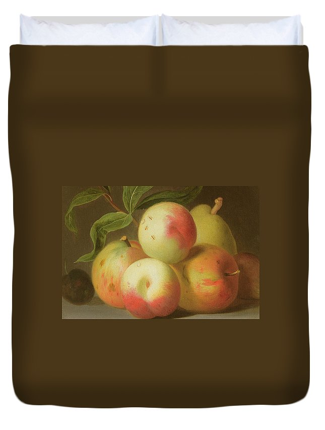 Apple Duvet Cover featuring the painting Detail Of Apples On A Shelf by Jakob Bogdany