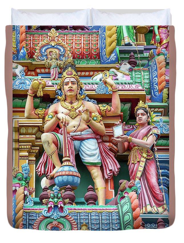 Arulmigu Duvet Cover featuring the photograph detail of Arulmigu Kapaleeswarar Temple, Chennai, Tamil Nadu by Henning Marquardt