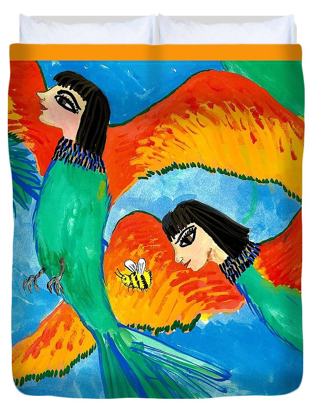 Sue Burgess Duvet Cover featuring the painting Detail Of Bird People Little Green Bee Eaters Of Upper Egypt 2 by Sushila Burgess