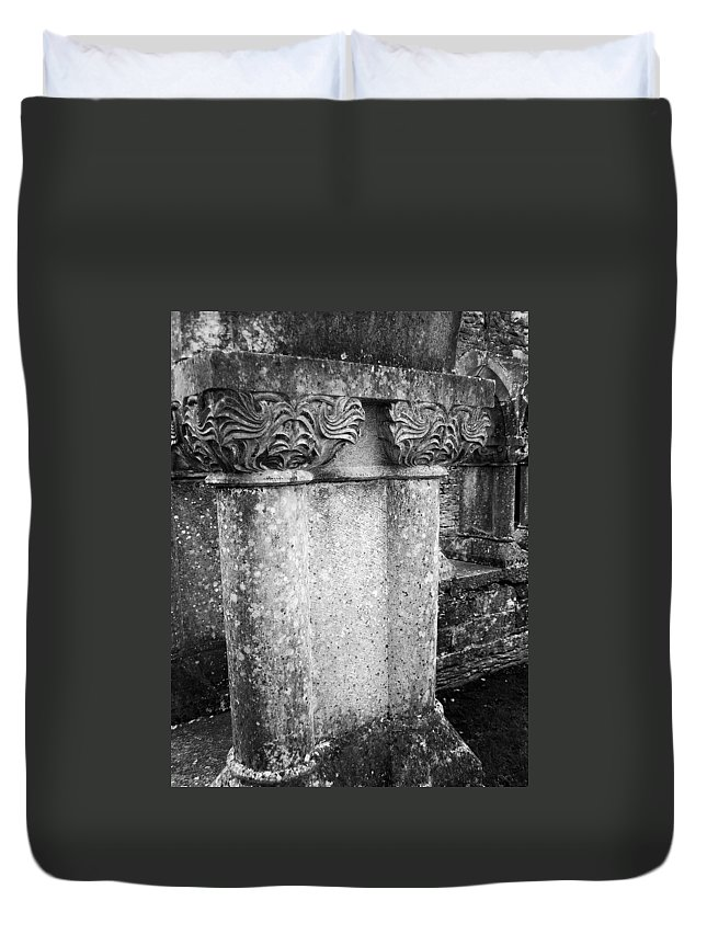 Irish Duvet Cover featuring the photograph Detail Of Capital Of Cloister At Cong Abbey Cong Ireland by Teresa Mucha