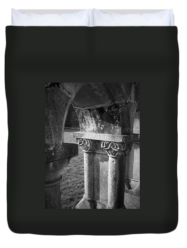 Irish Duvet Cover featuring the photograph Detail Of Cloister At Cong Abbey Cong Ireland by Teresa Mucha