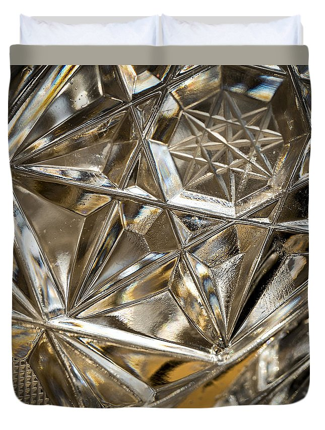 Glass Duvet Cover featuring the photograph Detail Of Cut Glass by Jozef Jankola