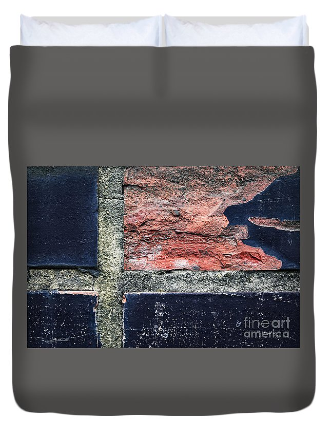 Wall Duvet Cover featuring the photograph Detail Of Damaged Wall Tiles by Jozef Jankola