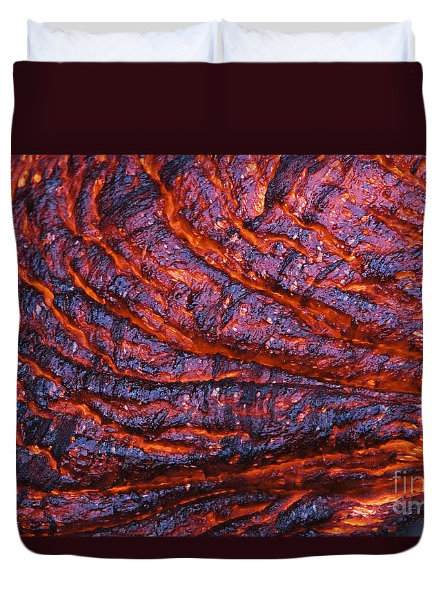 Abstract Duvet Cover featuring the photograph Detail Of Molten Lava by Ron Dahlquist - Printscapes