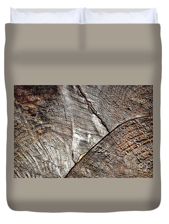 Wood Duvet Cover featuring the photograph Detail Of Old Wood Sawn by Jozef Jankola