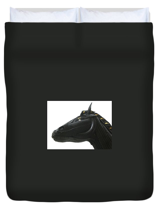 Horse Duvet Cover featuring the sculpture Detail - Tire Horse by Mo Siakkou-Flodin