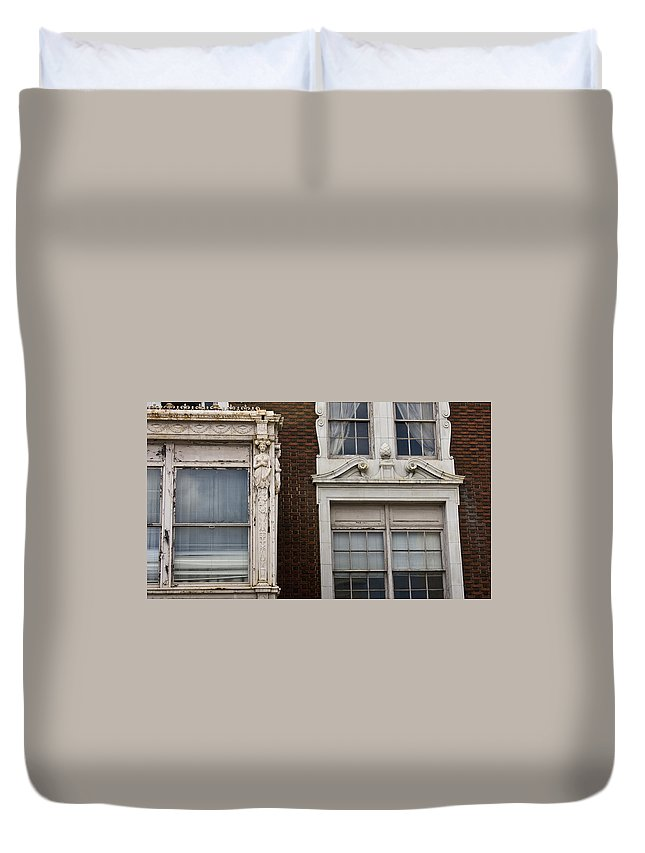 Roanoke Duvet Cover featuring the photograph Details Of The Patrick Henry Hotel Roanoke Virginia by Teresa Mucha