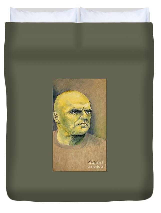 A Man Duvet Cover featuring the painting Determination / Portrait by Dagmar Helbig