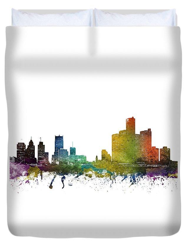 Detroit Duvet Cover featuring the digital art Detroit Cityscape 01 by Aged Pixel