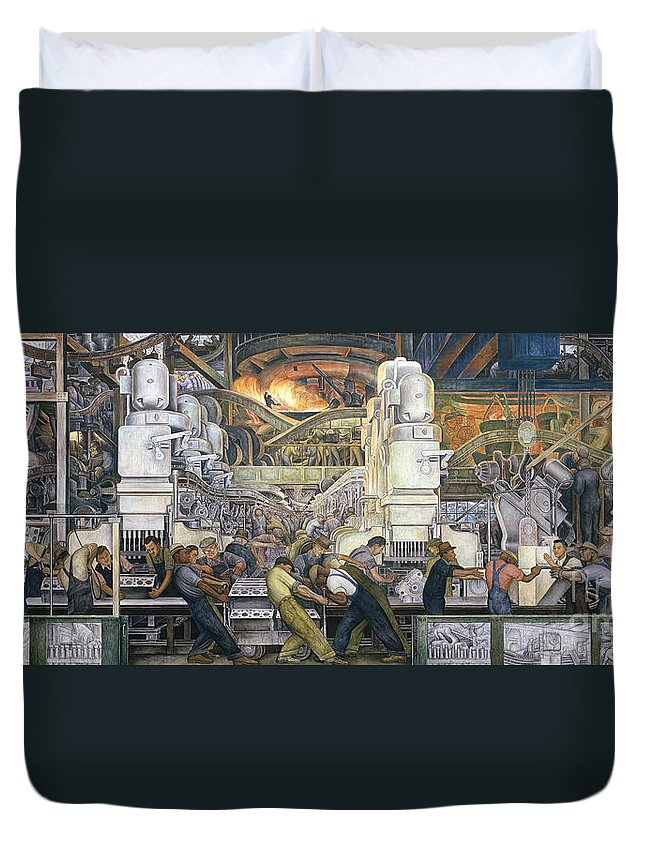 Machinery; Factory; Production Line; Labour; Worker; Male; Industrial Age; Technology; Automobile; Interior; Manufacturing; Work; Detroit Industry Duvet Cover featuring the painting Detroit Industry  North Wall by Diego Rivera