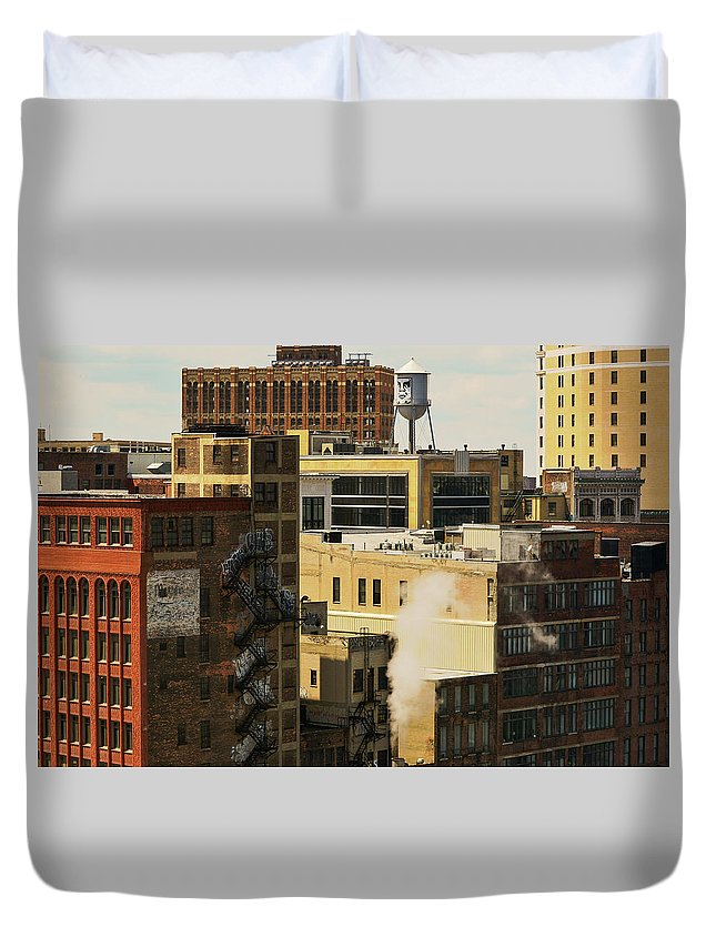 Skyscrapers Duvet Cover featuring the photograph Detroit Steam City by Pauline Cze