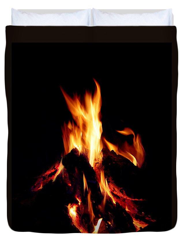 Devil Duvet Cover featuring the photograph Devil Fire by Peter Piatt
