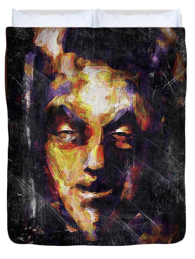 Devil Duvet Cover featuring the digital art Devil Inside by Nataliia Kuznietsova