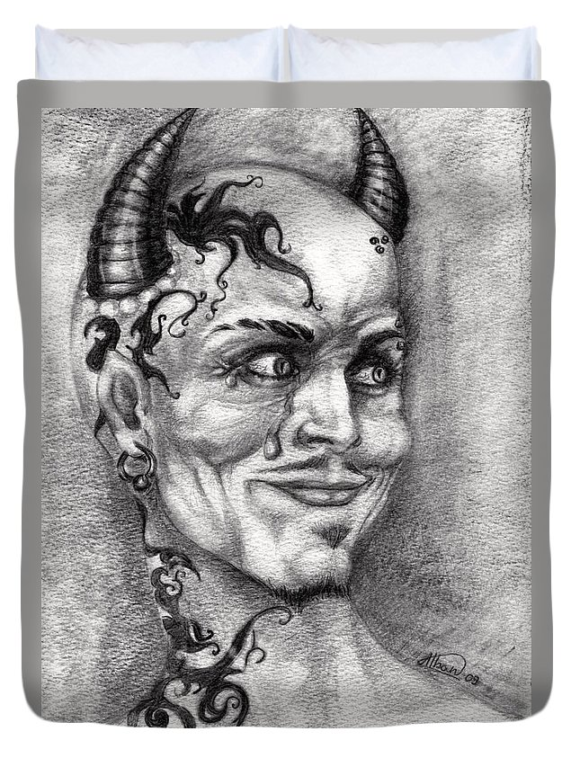Satan Duvet Cover featuring the drawing Devil May Cry by Alban Dizdari