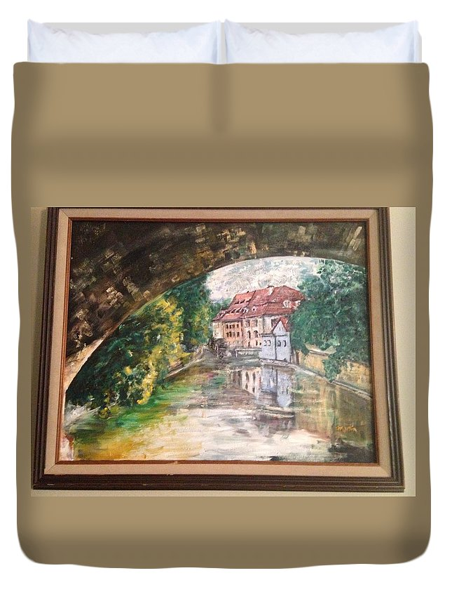 Duvet Cover featuring the painting Devil's Creek - Prague by Tim Martin