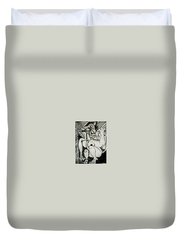 Gilr Duvet Cover featuring the print Devils Horse by Thomas Valentine