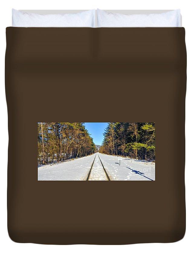 Landscape Duvet Cover featuring the photograph Devil's Lake Railroad by Ricky L Jones