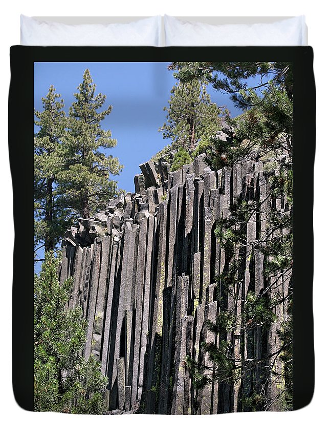 Devils Postpile Duvet Cover featuring the photograph Devils Postpile National Monument - Mammoth Lakes - East California by Christine Till