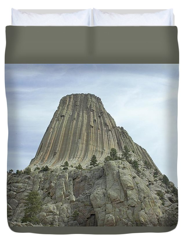 Monuments Duvet Cover featuring the photograph Devils Tower by David Lyon