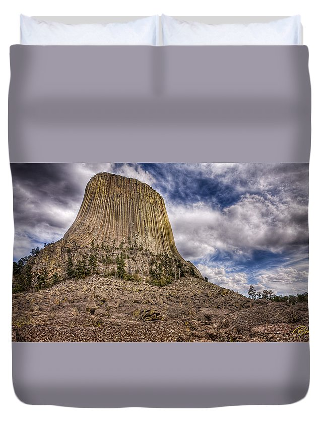 Wyoming Duvet Cover featuring the photograph Devil's Tower Summer Afternoon by Rikk Flohr