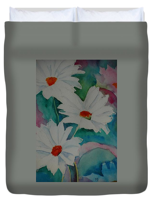 Daisies Duvet Cover featuring the painting Devin's Dasies by Melinda Etzold