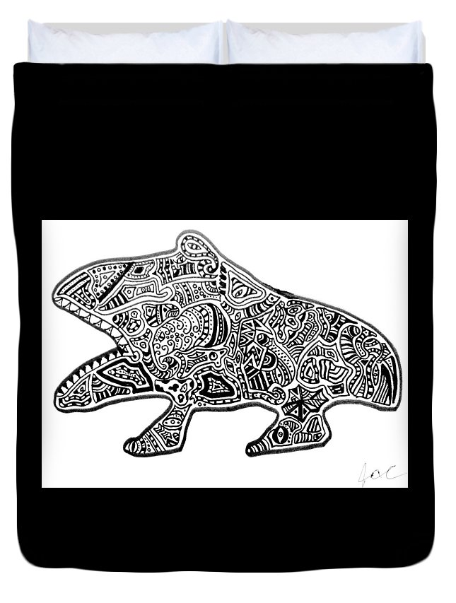 Frog Duvet Cover featuring the drawing Freaky Frog by Regina Jeffers