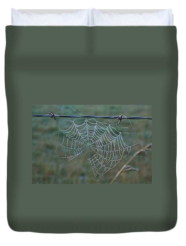 Spider Duvet Cover featuring the photograph Dew On The Web by Douglas Barnett