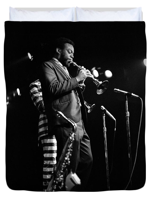 Ornette Coleman Duvet Cover featuring the photograph Dewey Redman On Musette by Lee Santa