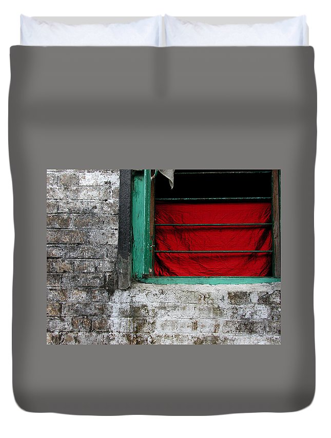 Red Duvet Cover featuring the photograph Dharamsala Window by Skip Hunt