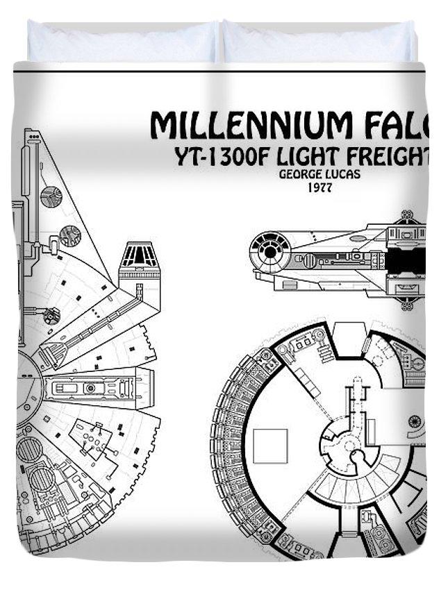 Diagram Illustration For The Millennium Falcon From Star Wars Duvet