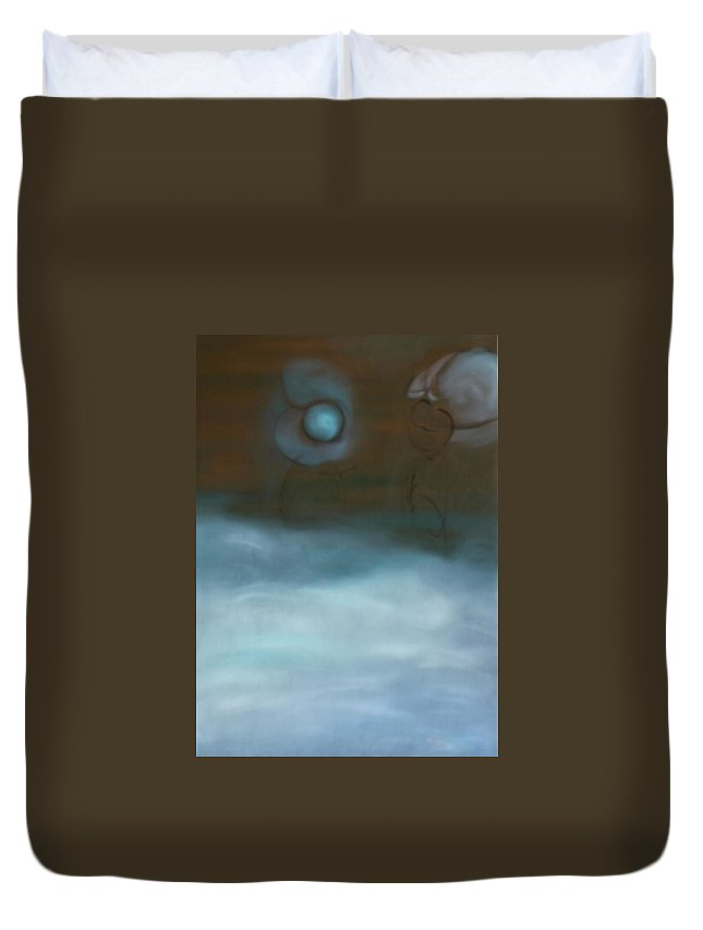 Duvet Cover featuring the painting Dialog by Min Zou