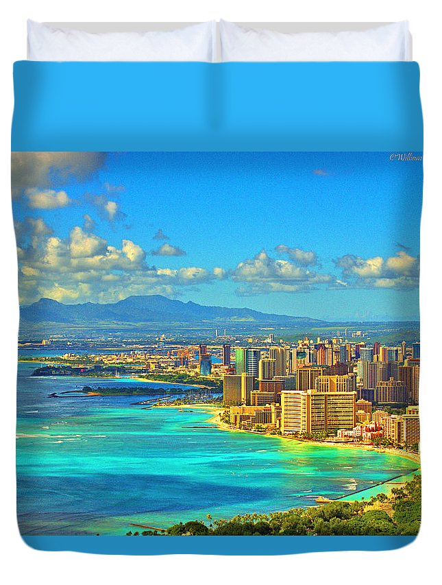 Beach Duvet Cover featuring the digital art Diamond Head by William Crawford