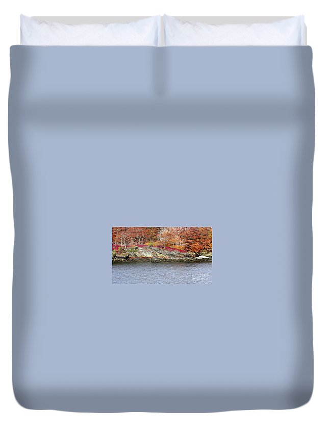 Tree Duvet Cover featuring the photograph Diamond Island-mineral Deposits In Granite by Faith Harron Boudreau