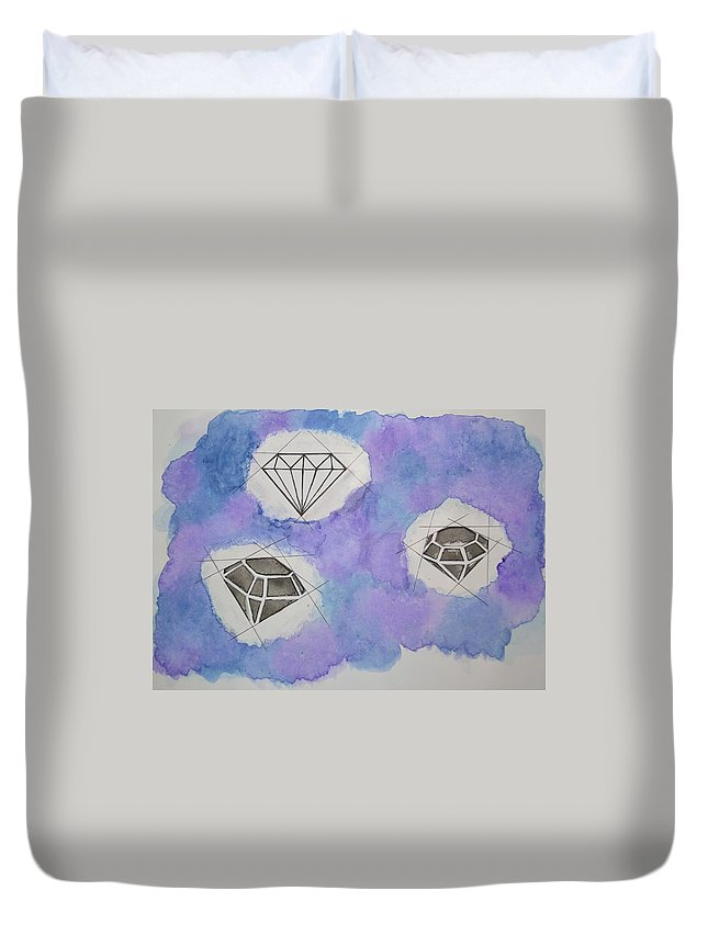 Diamonds Sky Watercolor Symmetrical Duvet Cover featuring the painting Diamonds In The Sky by Kushagra Sharma