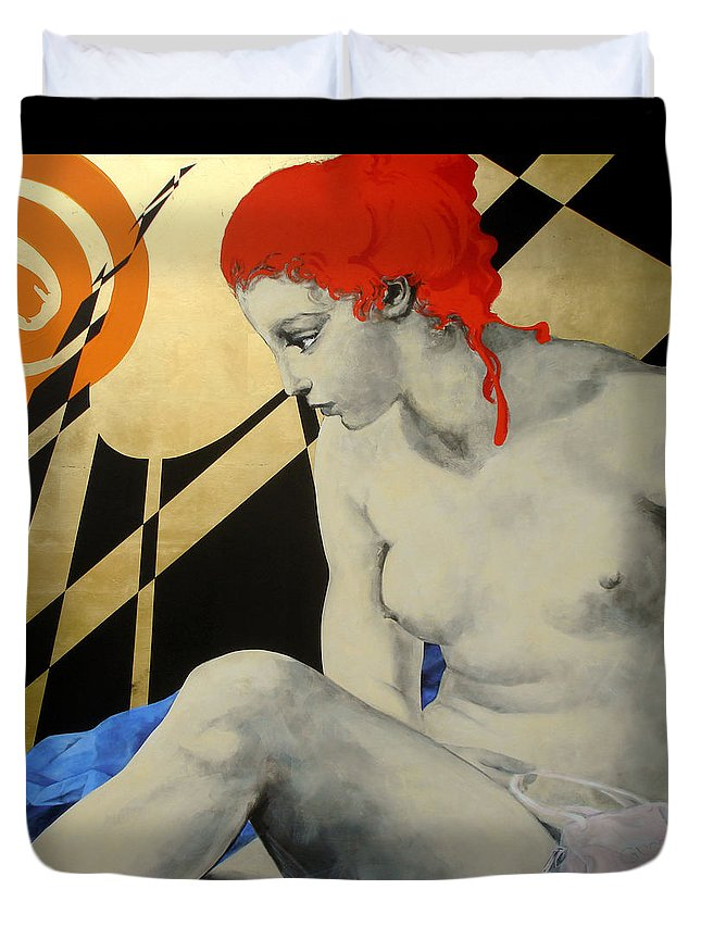 Mythology Duvet Cover featuring the painting Diana by Jean Pierre Rousselet