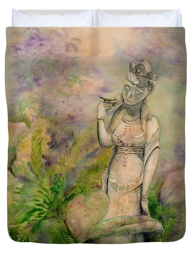 Quan Yin Duvet Cover featuring the painting Diana's Garden by Amy Kirkpatrick