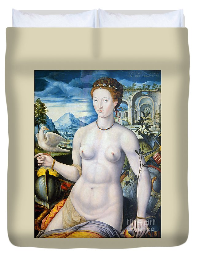 1570 Duvet Cover featuring the painting Diane De Poitiers (1499-1566) by Granger