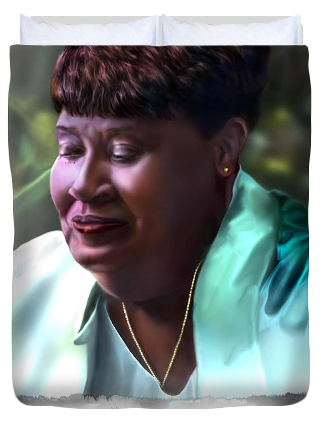 African American Woman Face Duvet Cover featuring the painting Diane E. Seymour by Reggie Duffie