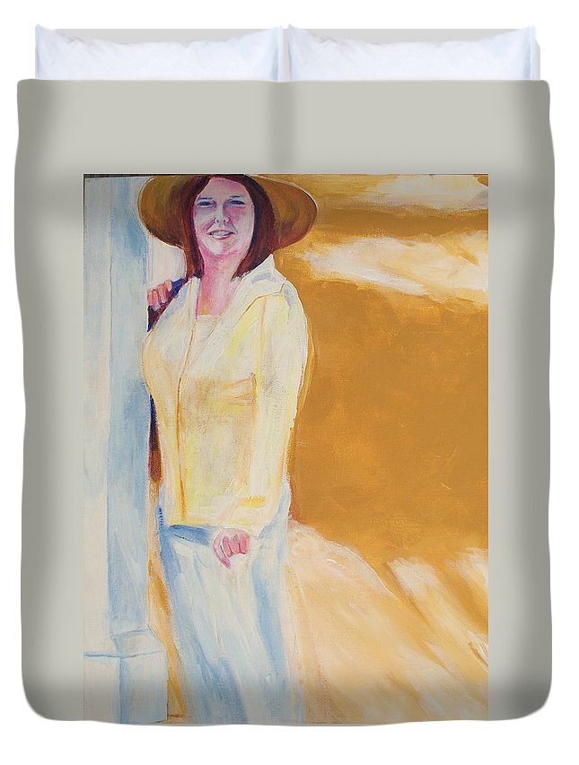 Portraits Duvet Cover featuring the painting Diane by Eric Schiabor