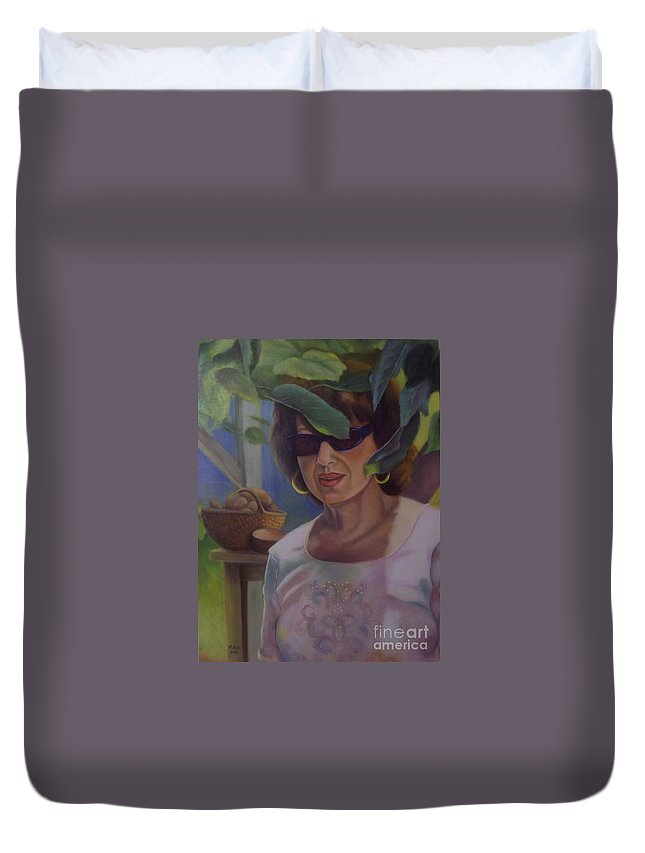 Portrait Duvet Cover featuring the painting Dianne by Marlene Book