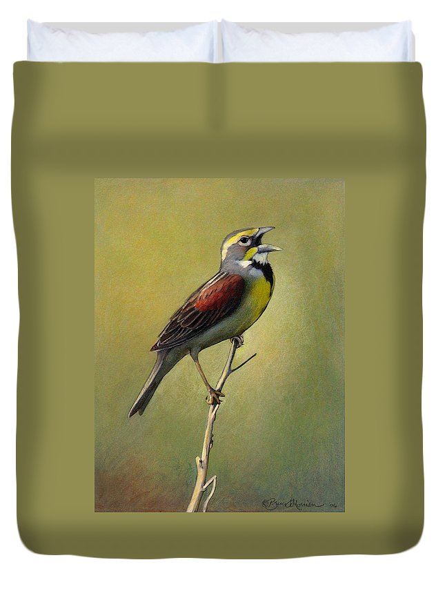 Birds Duvet Cover featuring the drawing Dickcissel Summer Song by Bruce Morrison