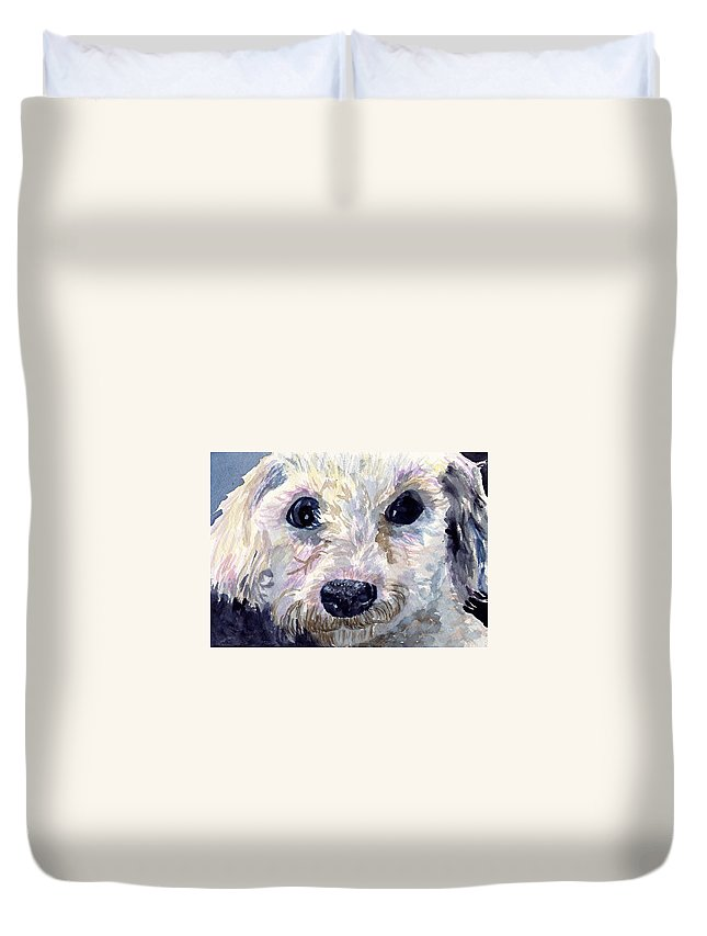 Bichon Frise Duvet Cover featuring the painting Did You Say Lunch by Sharon E Allen