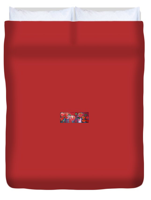 Red Duvet Cover featuring the painting Did You Say Sanctuary by Laurie Maves ART