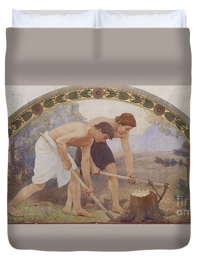 Charles Sprague Pearce 1851-1914 - Die Arbeit - The Work Duvet Cover featuring the painting Die Arbeit - The Work by Celestial Images