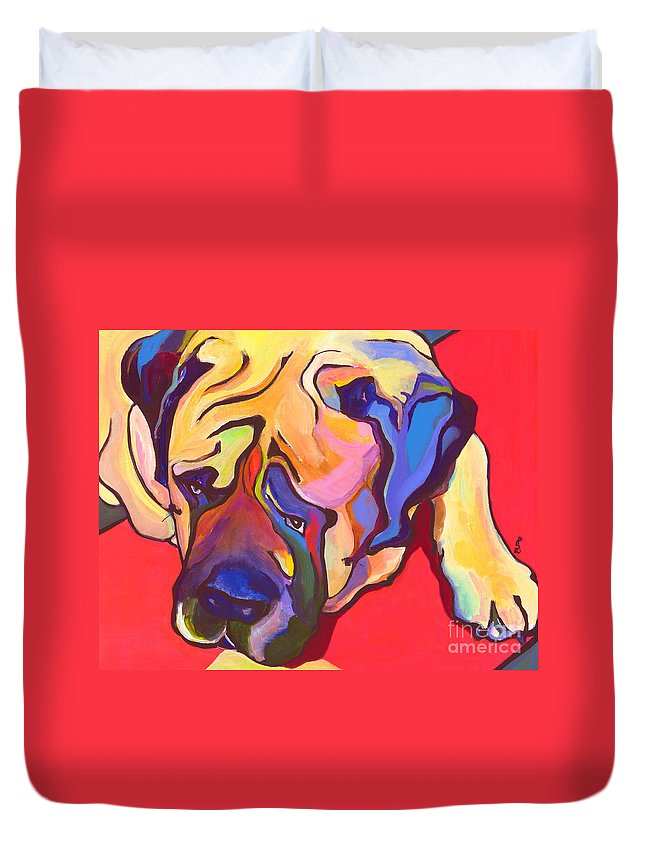 Mastiff Duvet Cover featuring the painting Diesel  by Pat Saunders-White