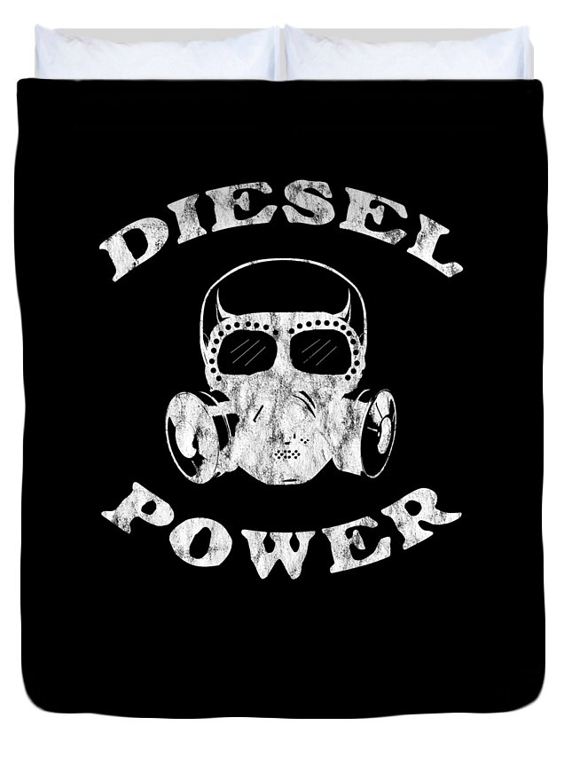 Black-smoke Duvet Cover featuring the digital art Diesel Power Gas Mask Skull Truck Offroad White Distressed by Henry B