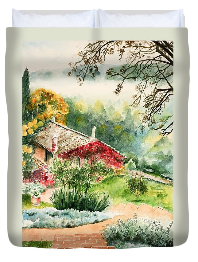 View Of Pathway To Red Cottage And Mountains In Mist Duvet Cover featuring the painting Dievole Vineyard In Tuscany by Judy Swerlick