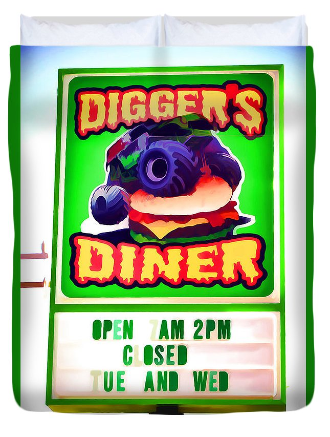 Digger's Diner Duvet Cover featuring the painting Digger's Diner by Jeelan Clark