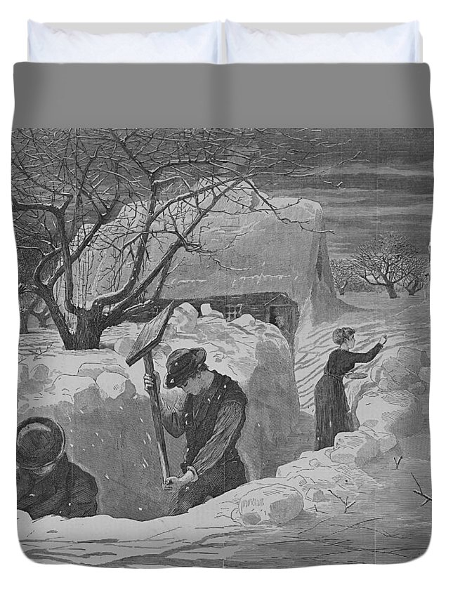 Winslow Homer Duvet Cover featuring the digital art Digging Out by Newwwman